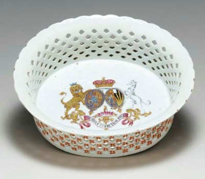 A FAMILLE ROSE ARMORIAL BASKET