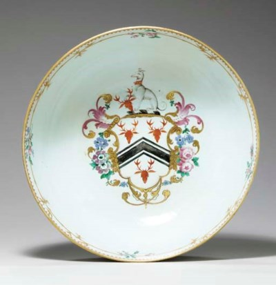 A FAMILLE ROSE ARMORIAL PUNCHB