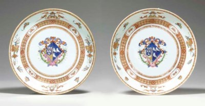 A PAIR OF ARMORIAL SAUCER DISH