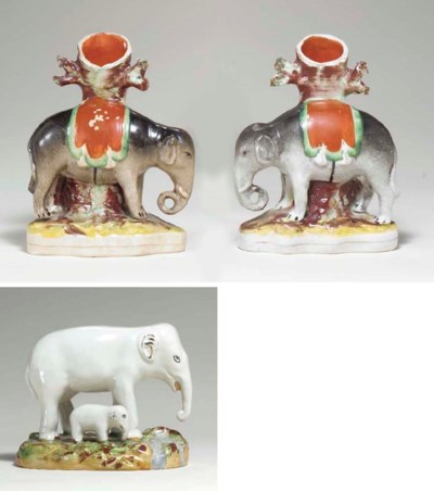 A PAIR OF STAFFORDSHIRE ELEPHA