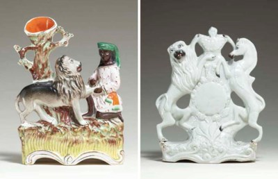 A STAFFORDSHIRE FIGURAL SPILL