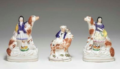 A PAIR OF STAFFORDSHIRE FIGURE