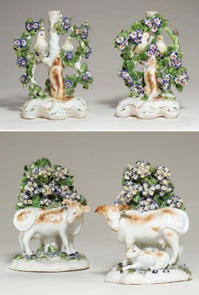 TWO DERBY PORCELAIN CANDLESTIC