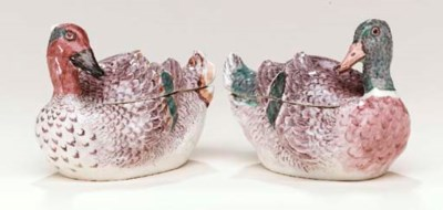 A PAIR OF BOW DUCK TUREENS AND