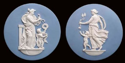 A PAIR OF WEDGWOOD BLUE AND WH