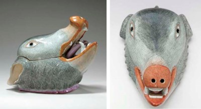A BOAR'S HEAD TUREEN AND COVER