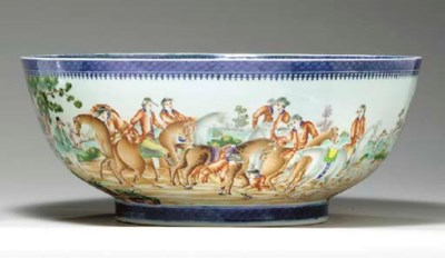 A LARGE HUNTING PUNCHBOWL