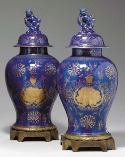 A LARGE PAIR OF ORMOLU-MOUNTED