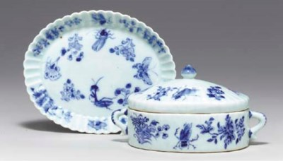 A BLUE AND WHITE BUTTER TUB, C
