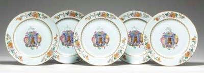 A SET OF FIVE ARMORIAL PLATES