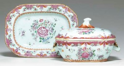 A FAMILLE ROSE SAUCE TUREEN, C
