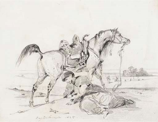 Eugène Delacroix (1798-1863), A stallion in profile to the right, an Arab crouching in the foreground. Graphite. 7⅛ x 9⅛  in (181 x 233  mm). Sold for $95,600 on 22 January 2003 at Christie's in New York