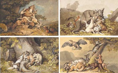 Four hunting scenes, after Rid