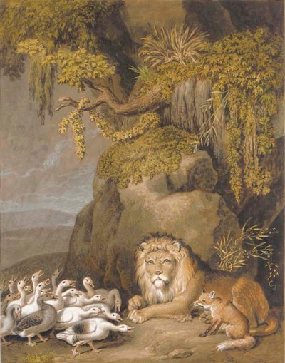 A lion and a fox at the mouth