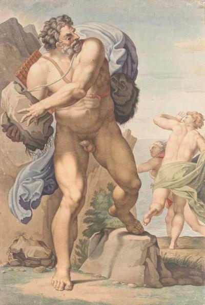 Polyphemus hurling a rock at A
