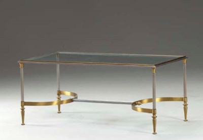 A BRASS AND METAL LOW TABLE,