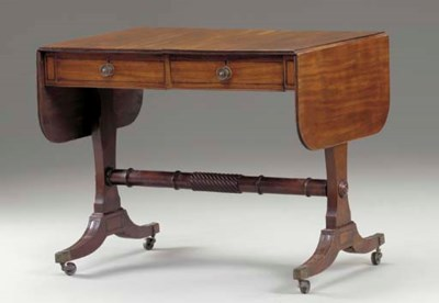 A REGENCY MAHOGANY DROP-LEAF S