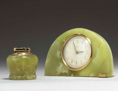 A GREEN ONYX TABLE CLOCK AND M