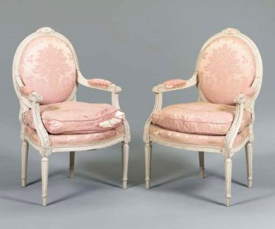 A PAIR OF LOUIS XVI STYLE GREY