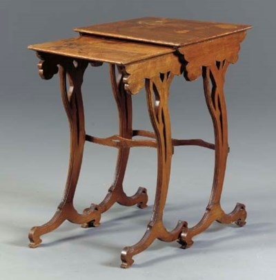 TWO FRUITWOOD AND MARQUETRY NE