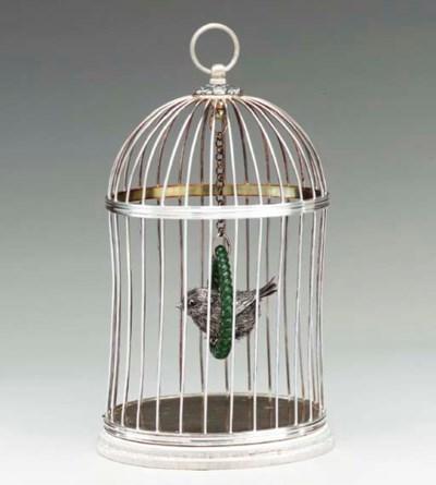 AN ITALIAN SILVER BIRDCAGE,