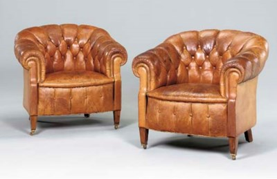 A PAIR OF BROWN TUFTED LEATHER