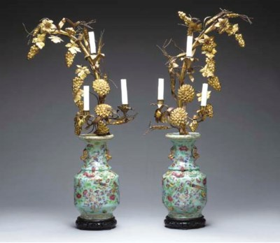 A PAIR OF GILT-METAL AND JAPAN