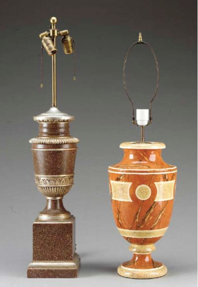 TWO URN-SHAPED TABLE LAMPS,