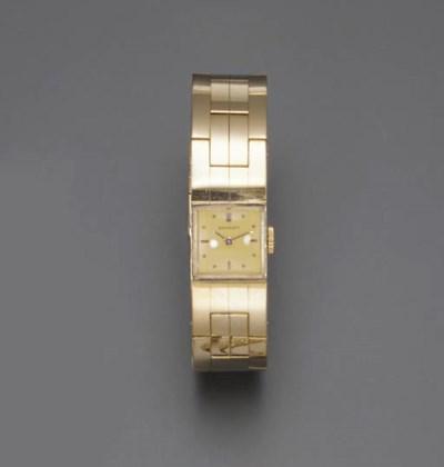 A GOLD WATCH BRACELET, BY BREG