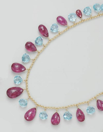 A TOPAZ AND TOURMALINE NECKLAC