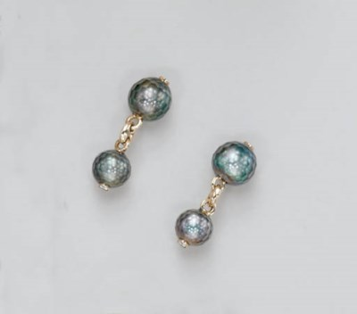 A PAIR OF FACETED CULTURED BLA