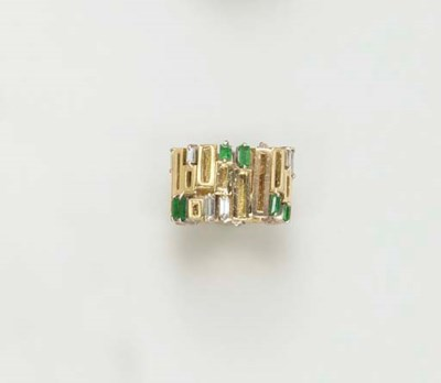 AN EMERALD, DIAMOND AND GOLD R