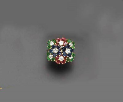 A MULTI-GEM FLORAL RING, BY JU