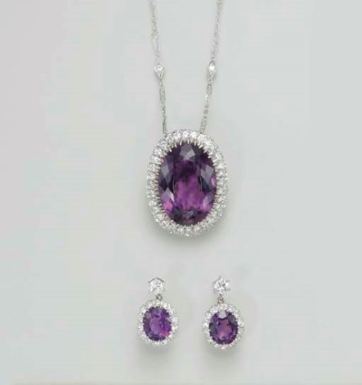 A SET OF AMETHYST AND DIAMOND