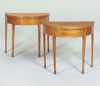 A PAIR OF GEORGE III INLAID-MA