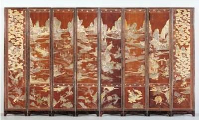 A CHINESE BROWN COROMANDEL LAC