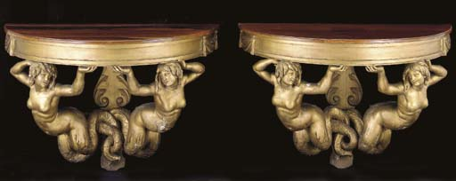 A PAIR OF ITALIAN GOLD-PAINTED