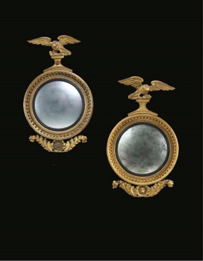 TWO GILTWOOD CONVEX MIRRORS,