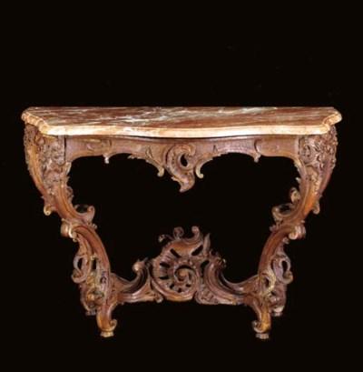 A LOUIS XV OAK SIDE TABLE,