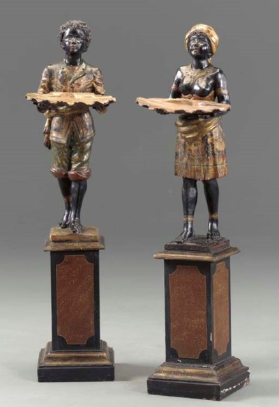 A PAIR OF VENETIAN POLYCHROME-