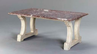 A RED LIVER MARBLE TABLE TOP O