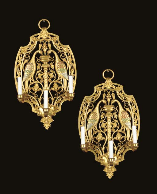 A PAIR OF AMERICAN ORMOLU AND