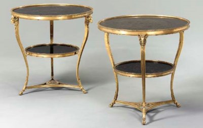 A PAIR OF ORMOLU AND BLACK MAR