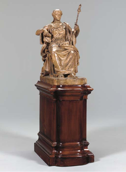 A FRENCH TINTED-PLASTER FIGURE