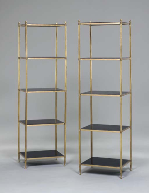 A PAIR OF BRASS AND BLACK SLAT