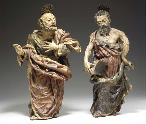 TWO SPANISH BAROQUE POLYCHROME