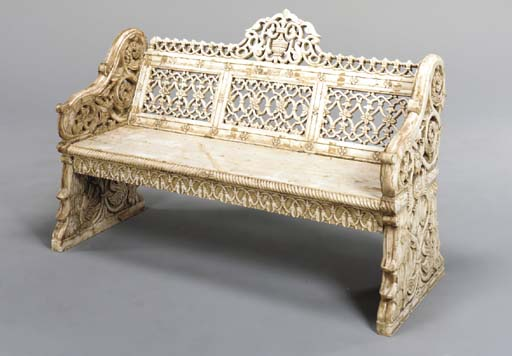 AN INDIAN WHITE MARBLE BENCH,