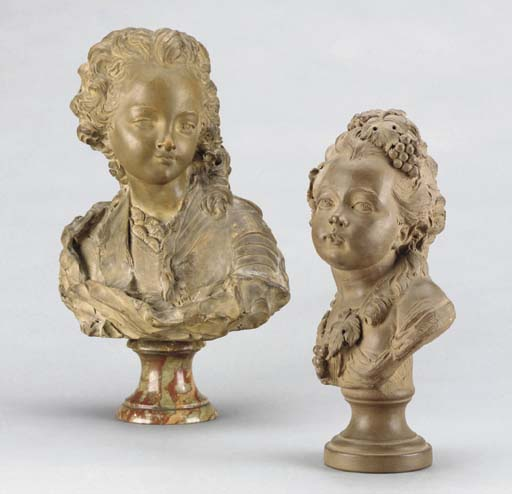 TWO FRENCH TERRACOTTA BUSTS,