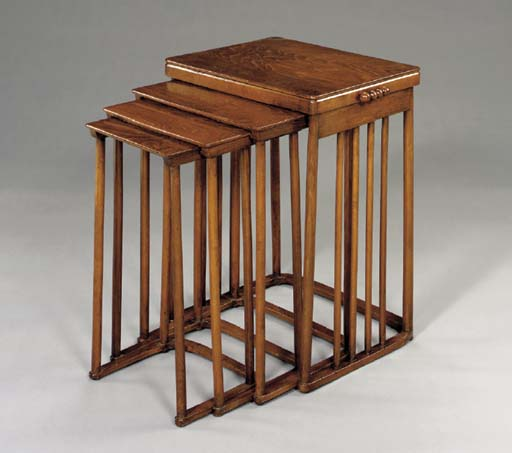A NEST OF FOUR BENTWOOD TABLES