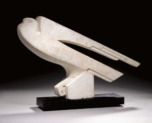 A PLASTER SCULPTURE OF A BIRD